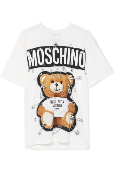 fc4b3a39661b6 Moschino Safety Pin Teddy Oversized Cotton-Jersey T-Shirt In White ...