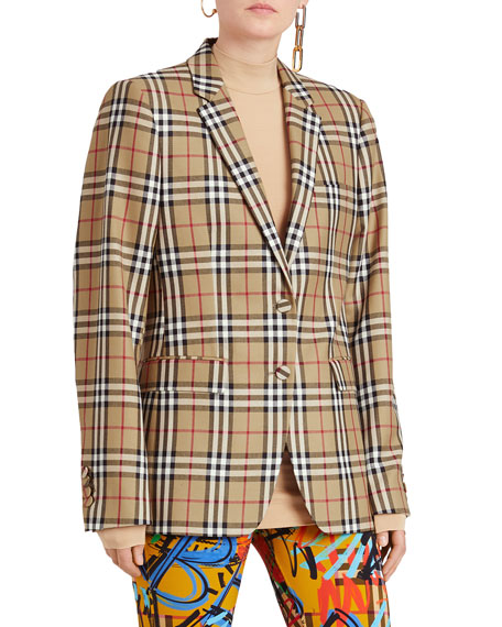Burberry Vintage Check Wool Tailored Jacket Uk 2 20661 In Yellow