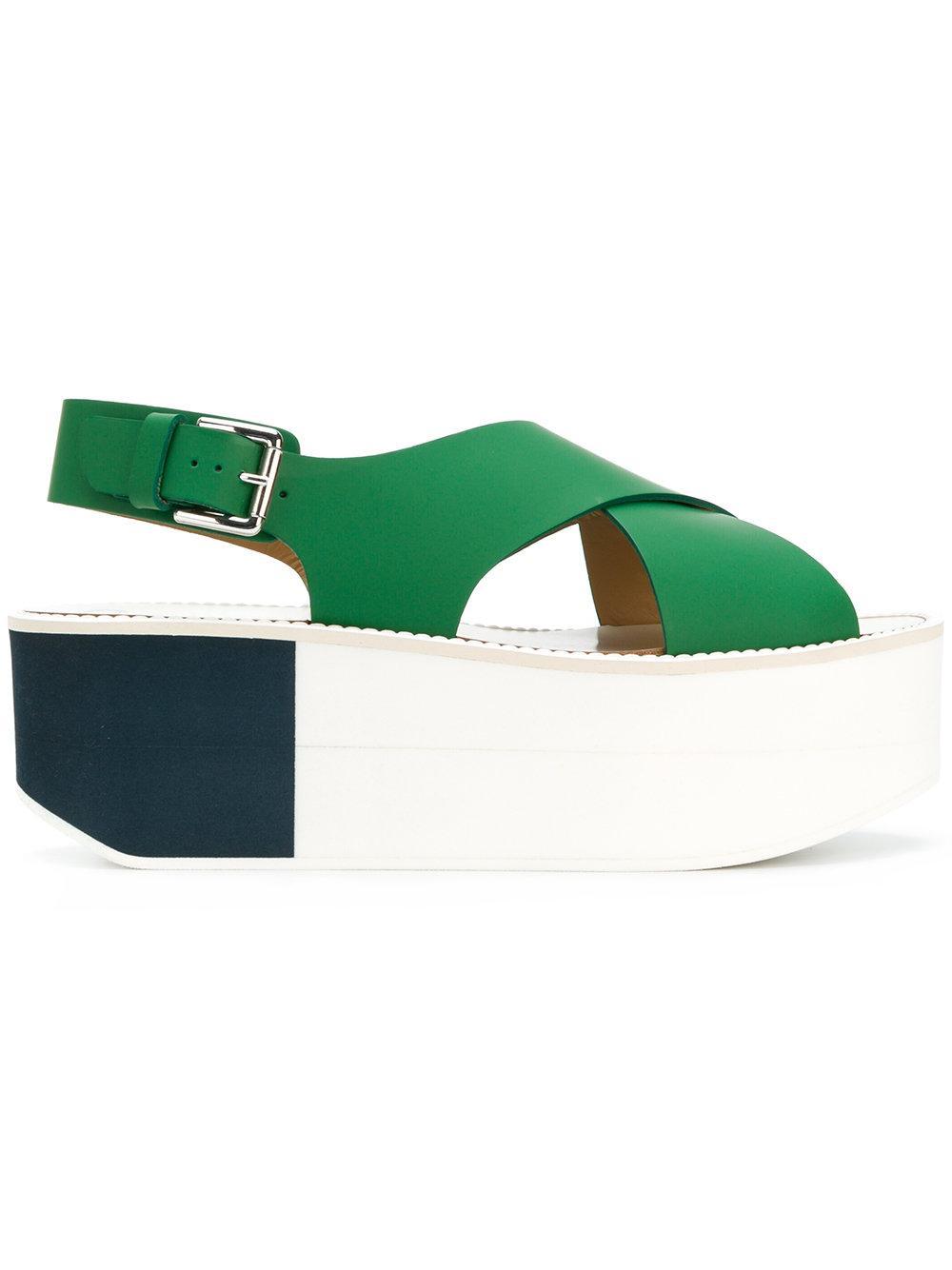 d29352b8b6a858 Flamingos Colour-Block Sandals - Green