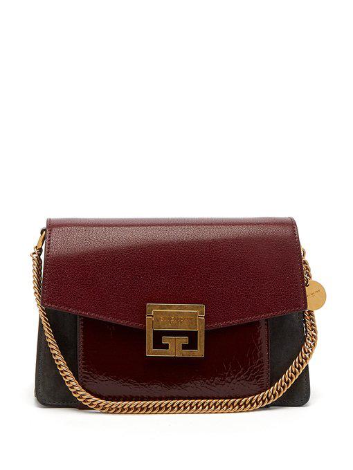 b72fd0fccb Givenchy Small Gv3 Crackle & Suede Aubergine Shoulder Bag In Burgundy Multi