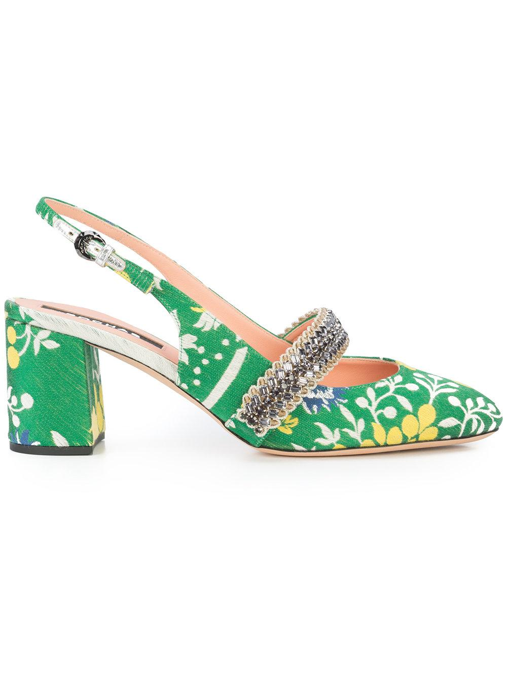 Rochas Patterned Slingback Sandals