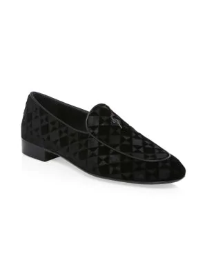 Giuseppe Zanotti Velvet 'G-Flash' Loafer G-Flash In Black