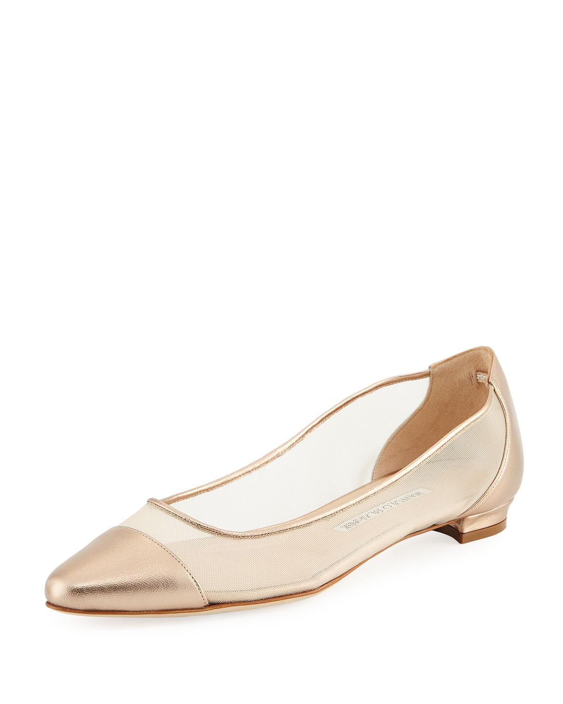 35c817ceafc3 Manolo Blahnik Bral Mesh Cap-Toe Ballet Flats In Gold
