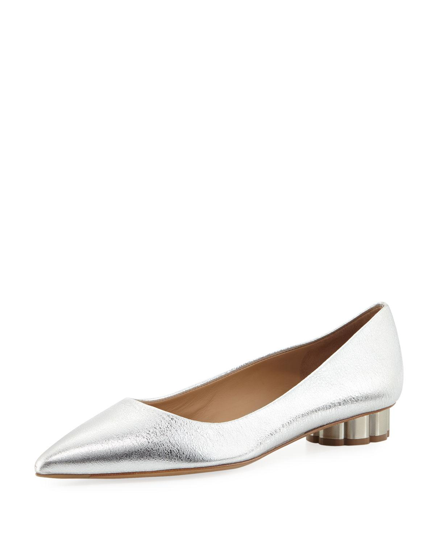 Salvatore Ferragamo Baidia Metallic Ballet Flats In Gray
