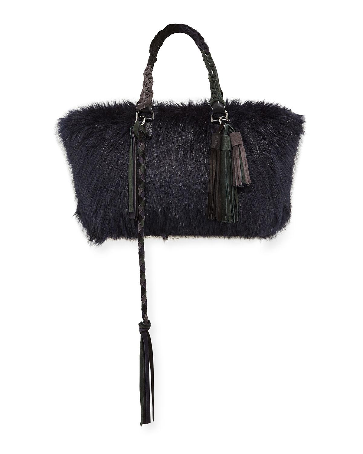 02511e2515 Sacai Tassel Furry Tote Bag In Navy