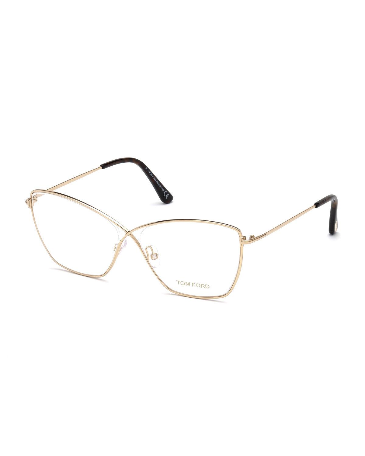 aa8c9ef208e Tom Ford Cat-Eye Metal Optical Frames In Red Pattern