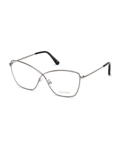 cdaf1d361e Tom Ford Cat-Eye Metal Optical Frames In Gray Pattern