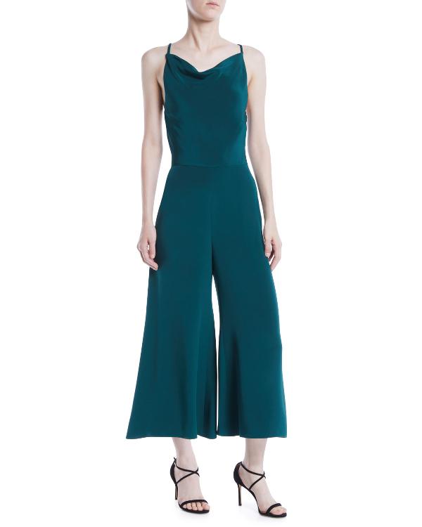 Cushnie Et Ochs Halter-neck Sleeveless Drape-back Wide-leg Silk Jumpsuit In Green