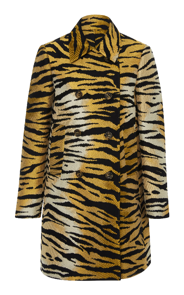 76d3853182b Red Valentino Tiger Brocade Double-Breasted Coat In Animal | ModeSens