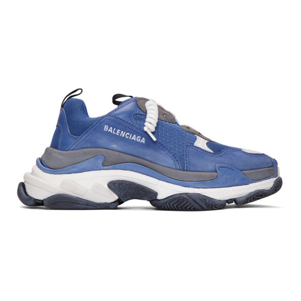 Balenciaga Men's Triple S Mesh & Leather Sneakers, Blue/Gray, Blue/Gray In 4171 Navy