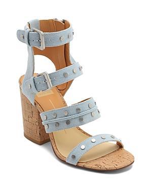 c4e0593c2327 Dolce Vita Women s Eddie Denim High Block Heel Gladiator Sandals In Blue