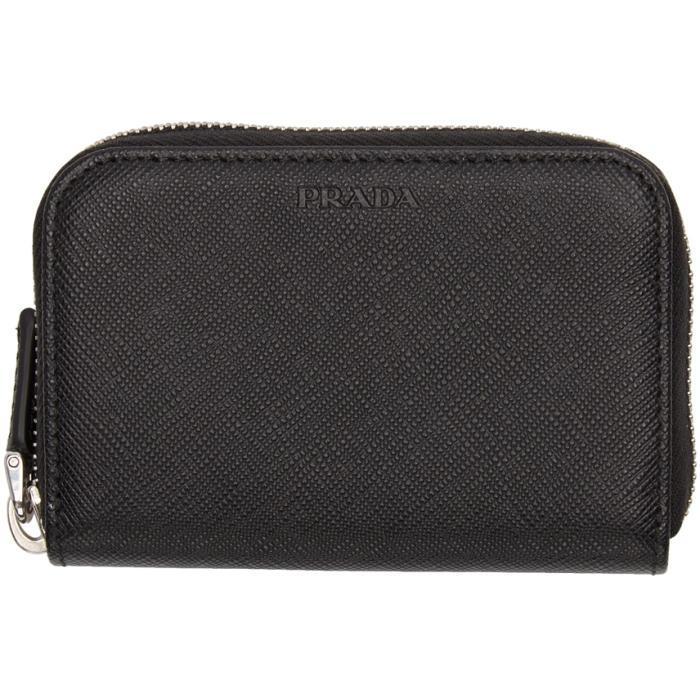 4d1ad89d5504 Prada Black Saffiano Zip Wallet In F0002 | ModeSens