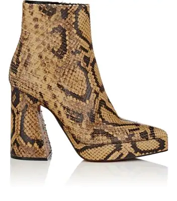 Proenza Schouler Block-Heel Stamped-Leather Ankle Boots - Brown