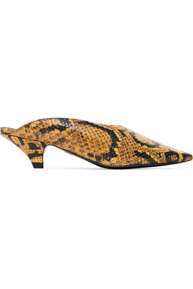 Proenza Schouler Kitten-Heel Stamped Leather Mules - Brown In Snake Print