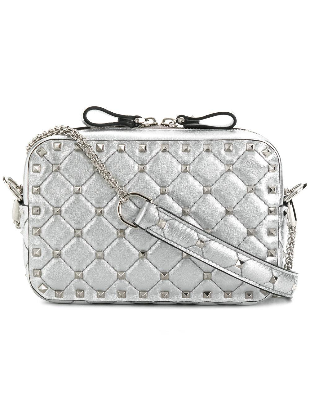 7d509ff7a Valentino Rockstud Spike Quilted Leather Camera Crossbody Bag In Metallic