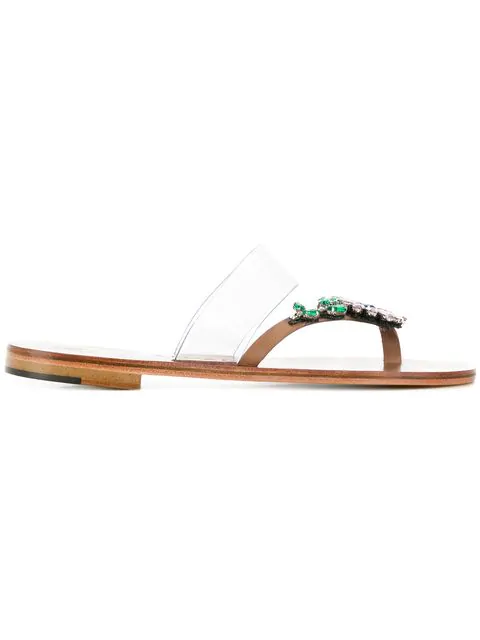 Álvaro González Embellished Flat Sandals In Neutrals