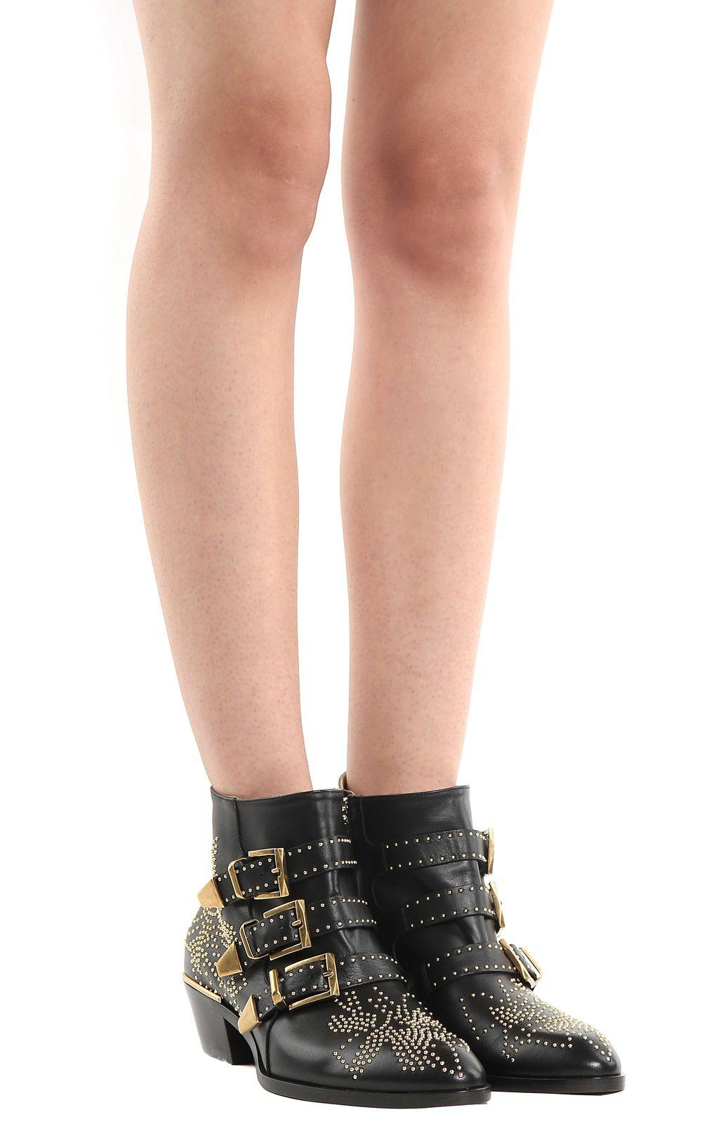 c095cda9 Susanna Studded Leather Ankle Boots in Nero
