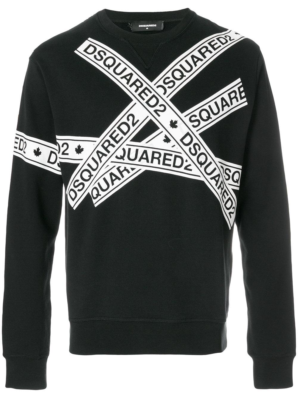 a46209bb5 Dsquared2 Logo Tape Cotton Jersey Sweatshirt In Black | ModeSens