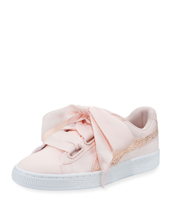 Puma Women's Basket Heart Canvas & Glitter Lace Up Sneakers In Pearl White