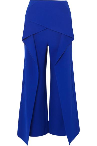 Roland Mouret Caldwell Layered Crepe Wide-Leg Pants In Blue