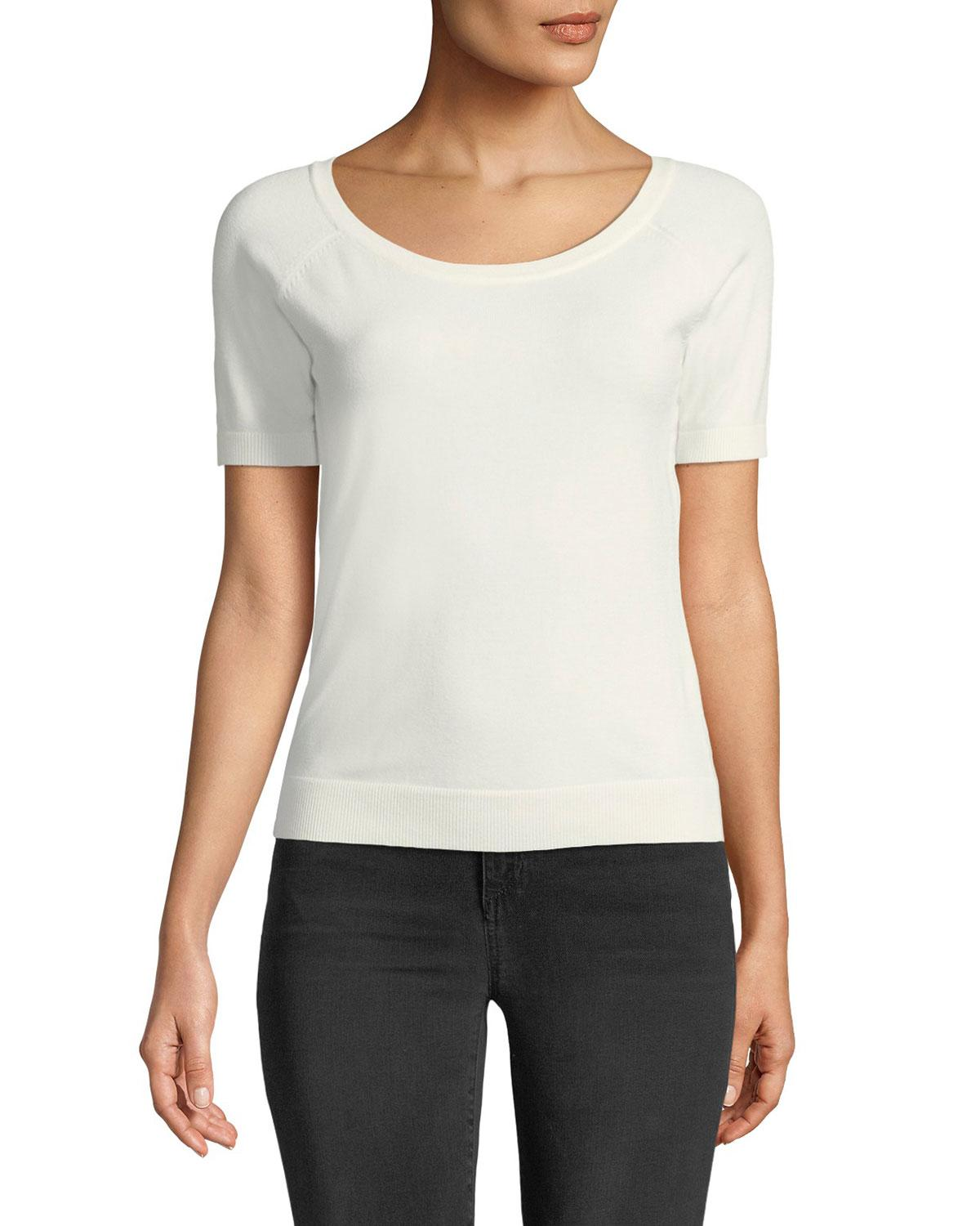Milly Ballet-Neck Stretch-Knit Tee In Ivory