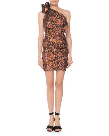 Isabel Marant One-Shoulder Metallic-Jacquard Mini Cocktail Dress In Ochre