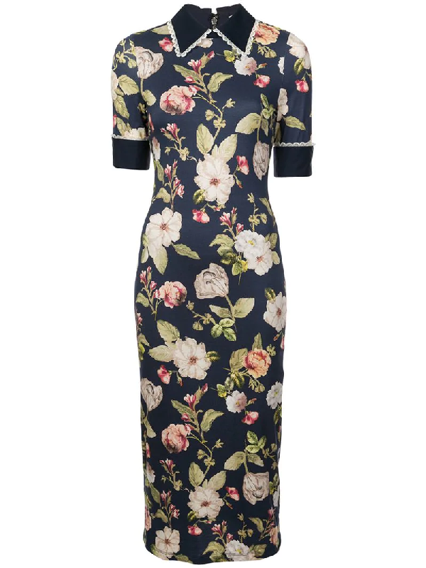 e9fa33c2839a Alice And Olivia Delora Collared Floral-Print Sheath Dress, Blue Pattern