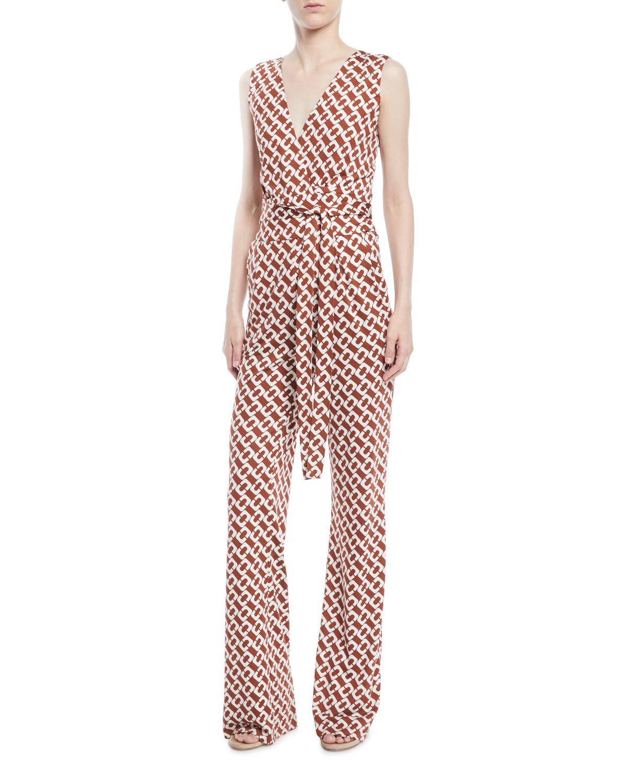 823a1cc351e Diane Von Furstenberg Terria Palm-Print Wide-Leg Jumpsuit