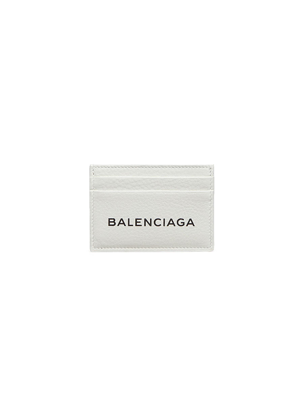 Balenciaga 'Everyday' Logo Embossed Leather Card Holder In 960Whtblk