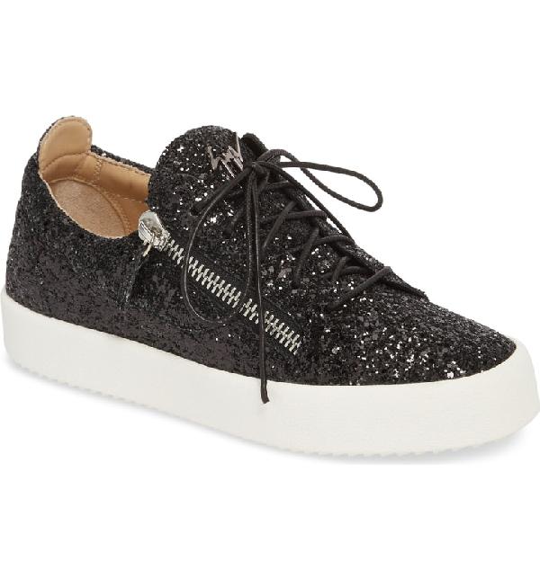 93c17d1d1e6 Giuseppe Zanotti May Coarse Glitter Platform Sneakers In Black ...