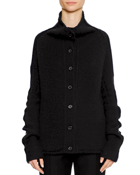 Jil Sander Button-Front 3-Gauge Cashmere Cardigan Sweater In Black