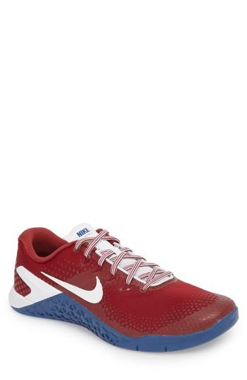 finest selection 962f2 624cd Nike Metcon 4 Americana Training Shoe In Team Red/ White/ Gym Blue ...