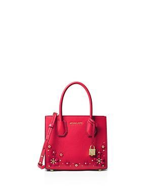 296a6870ac442 Michael Michael Kors Mercer Floral Embellished Leather Crossbody Bag In  Deep Pink