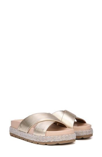 1115f9cdc7e Sam Edelman Sadia Slide Sandal In Molten Gold Leather