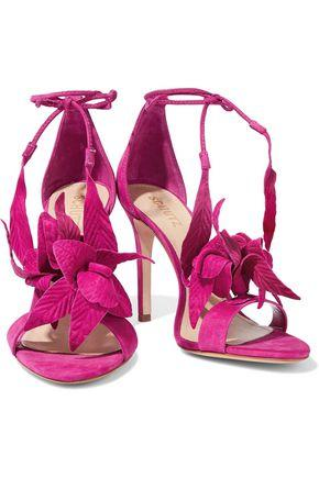 6efd8fc053bd Schutz Woman Embossed Nubuck And Suede Sandals Fuchsia