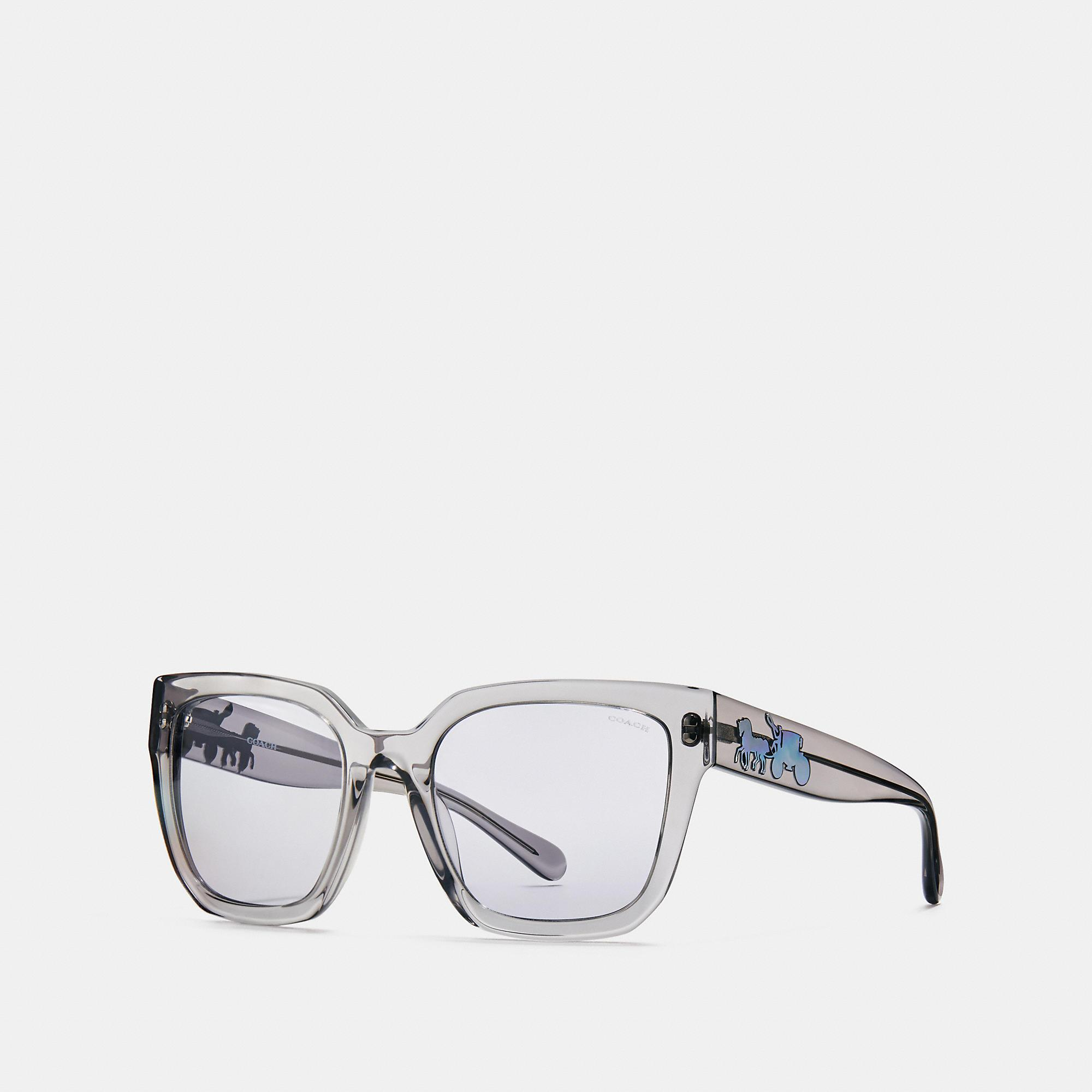 5a63d5f860f2 Coach Horse And Carriagre Hologram Square Sunglasses In Grey  Translucent/Violet Lens