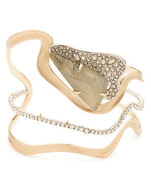 Alexis Bittar Crystal Encrusted Freeform Roxbury Cuff Bracelet In Gold