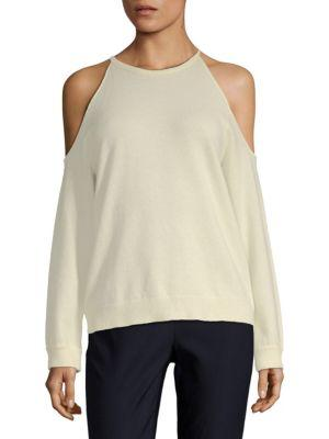 Theory Toleema Cold-Shoulder Cashmere Top In Ivory
