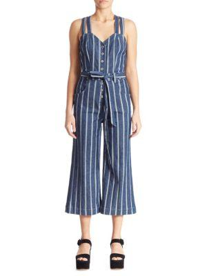 7 For All Mankind Striped Denim Jumpsuit In Blue