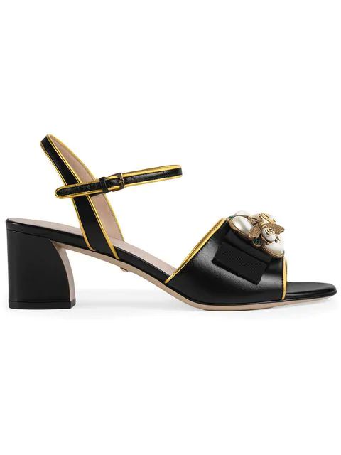 Gucci Leather Mid-Heel Sandal With Bee In Black