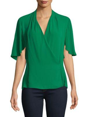T Tahari Erynne Wrap Top In Luck