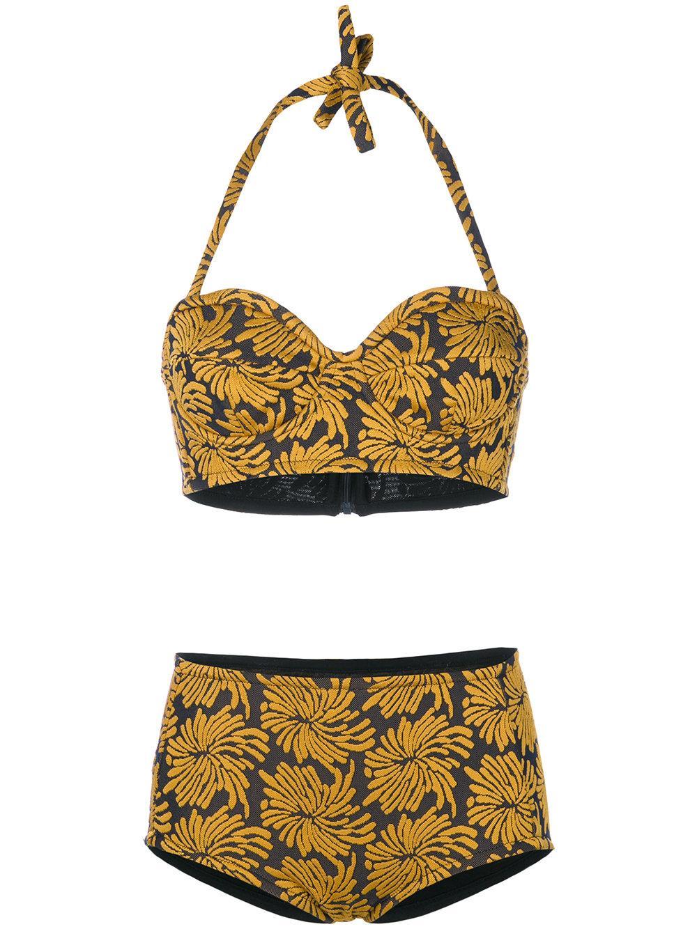 Maison Margiela Floral Bikini Set In Yellow & Orange
