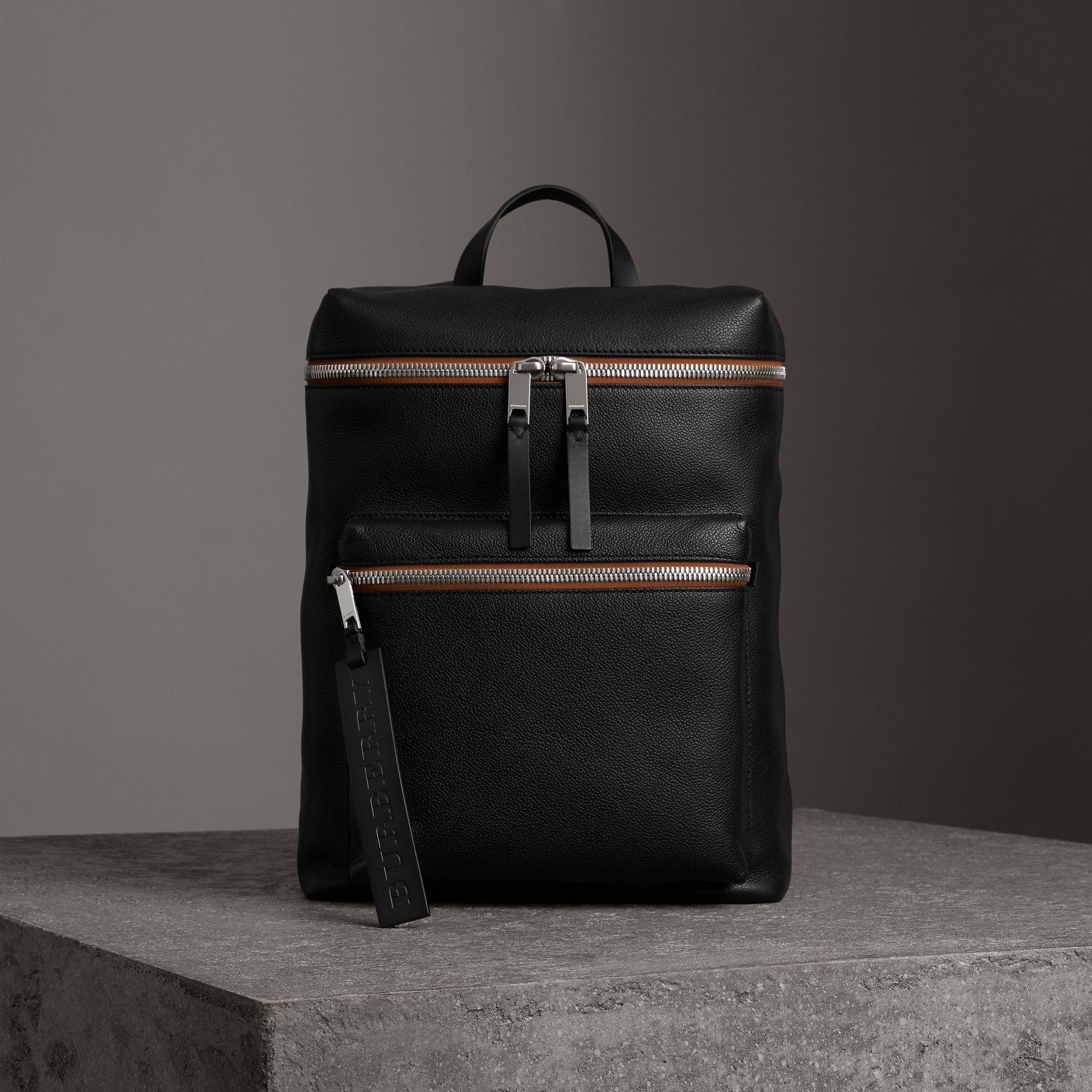 1a46598548cb Burberry Zip-Top Leather Backpack In Black
