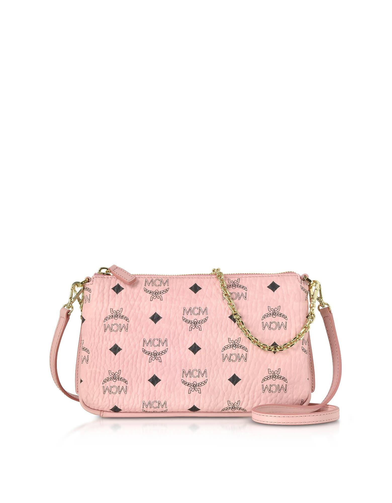 32fe2e1b04ebf2 Mcm Millie Visetos Soft Pink Medium Zip Crossbody Bag | ModeSens