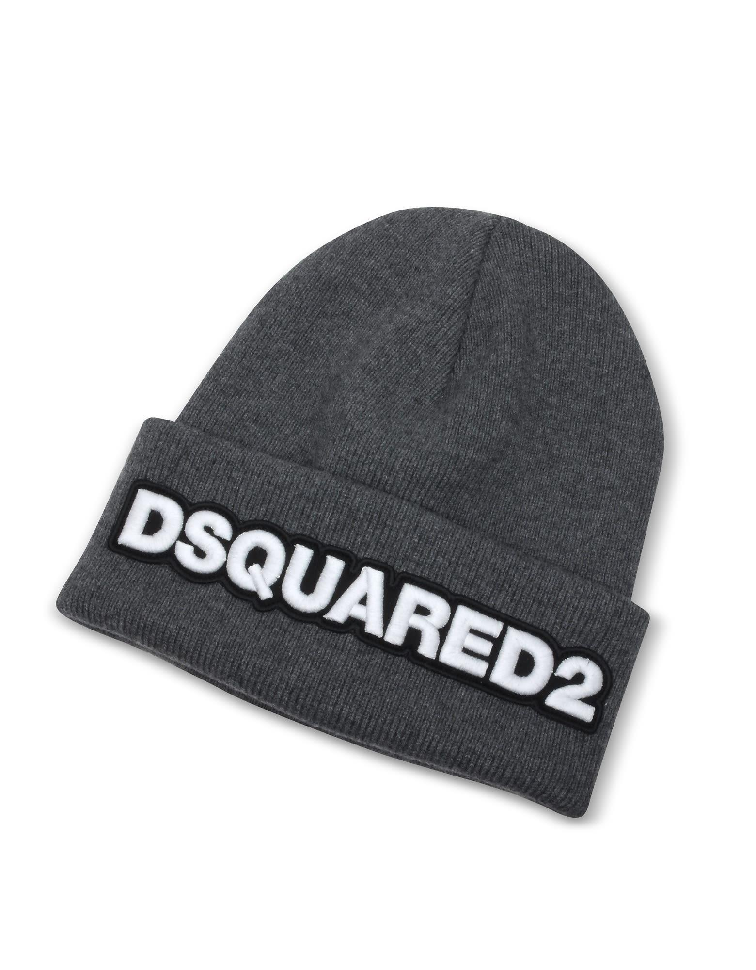 a656d0e20b5 Dsquared2 Embroidered Logo Anthracite Wool Beanie In Gray