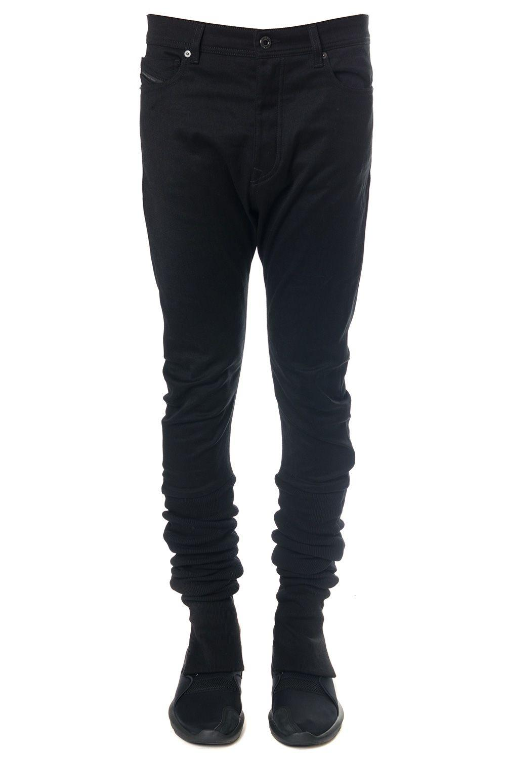 Diesel Black Gold Black Cotton Pants With Sides In Nylon