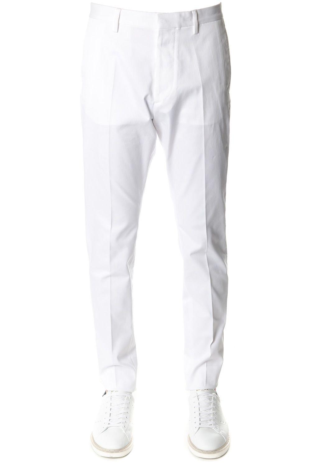Dsquared2 White Cotton Tailored Trousers