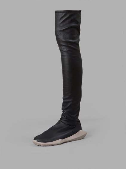 445ac205f7a5 Rick Owens Black Adidas Edition Stretch Tech Runner Over-The-Knee Boots
