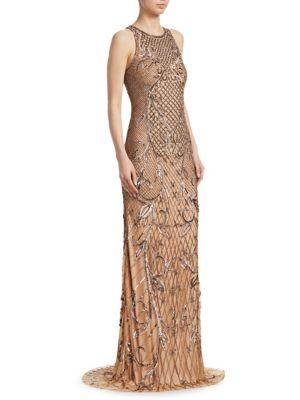 Theia Beaded Sleeveless Gown In Bronze