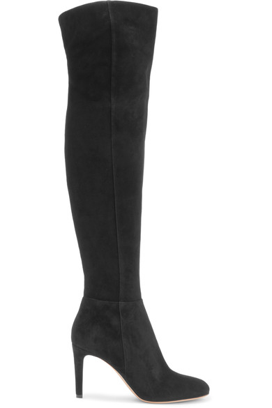 Gianvito Rossi Lea Cuissard Over-The-Knee Suede Point Toe Boots In Black